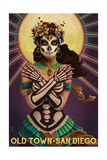 Old Town - San Diego, California - Day of the Dead Crossbones Art by  Lantern Press