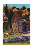 Deer Family and Cabin Prints by  Lantern Press