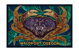 Waldport, Oregon - Dungeness Crab Mosaic Posters by  Lantern Press