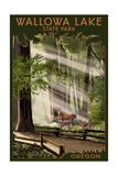 Wallowa Lake State Park, Oregon - Deer Family in Forest Prints by  Lantern Press