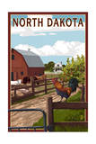 North Dakota - Barnyard Scene Print by  Lantern Press
