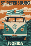 St. Petersburg, Florida - VW Van Prints by  Lantern Press