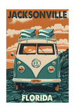 Jacksonville, Florida - VW Van Posters by  Lantern Press