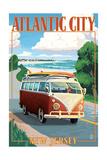 Atlantic City, New Jersey - VW Van Coastal Drive Prints by  Lantern Press