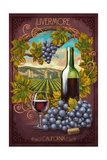 Livermore, California - Merlot Print by  Lantern Press
