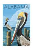 Alabama - Brown Pelicans Poster von  Lantern Press