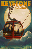 Keystone, Colorado - Gondola and Full Moon Poster by  Lantern Press