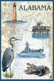 Alabama - Nautical Chart Prints by  Lantern Press