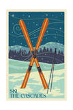 Ski the Cascades, Washington - Skis Posters by  Lantern Press