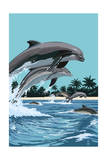 Dolphins Jumping Prints by  Lantern Press