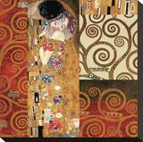 Deco Collage Detail (from The Kiss) Stretched Canvas Print by Gustav Klimt