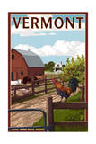 Vermont - Barnyard Scene Prints by  Lantern Press