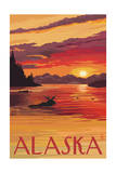 Alaska - Moose Swimming and Sunset Art by  Lantern Press