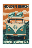 Holden Beach, North Carolina - VW Van Prints by  Lantern Press