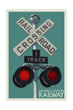 Grand Canyon Railway, Arizona - Railroad Crossing Art by  Lantern Press