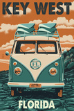 Key West, Florida - VW Van Prints by  Lantern Press