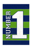 Monogram - Game Day - Blue and Green - Number 1 Posters