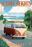 Seaside Heights, New Jersey - VW Van Coastal Drive Posters by  Lantern Press