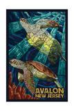 Avalon, New Jersey - Sea Turtle - Mosaic Posters by  Lantern Press