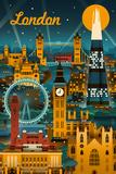 London, England - Retro Skyline 高画質プリント : ランターン・プレス