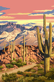 Sunset Desert Scene Art by  Lantern Press