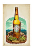 Beer Bottle and Ingredients - Portland, Oregon Print by  Lantern Press