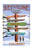Keystone, Colorado - Ski Signpost Plakaty autor Lantern Press