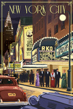 New York City, New York - Theater Scene Reprodukcje autor Lantern Press