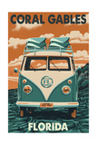 Coral Gables, Florida - VW Van Prints by  Lantern Press