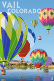 Vail, Colorado - Hot Air Balloons Art by  Lantern Press