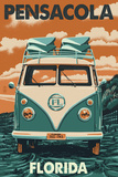 Pensacola, Florida - VW Van Prints by  Lantern Press