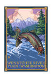 Plain, Washington - Angler Fly Fishing Scene Posters by  Lantern Press
