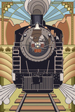 Steam Locomotive - Deco Style Prints by  Lantern Press