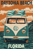 Daytona Beach, Florida - VW Van Print by  Lantern Press