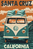Santa Cruz, California - VW Van Print by  Lantern Press