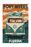 Fort Myers, Florida - VW Van Prints by  Lantern Press