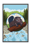 Beaver and River Prints by  Lantern Press