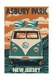 Asbury Park, New Jersey - VW Van Prints by  Lantern Press