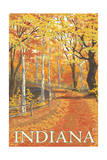 Indiana - Fall Colors Print by  Lantern Press