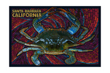 Santa Barbara, California - Blue Crab Mosaic Posters by  Lantern Press