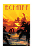 Bonaire, Dutch Caribbean - Sunset and Ship Prints by  Lantern Press