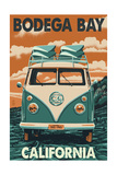 Bodega Bay, California - VW Van Prints by  Lantern Press