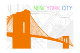 New York City, NY - Neon Brooklyn Bridge Art by  Lantern Press