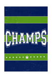 Monogram - Game Day - Blue and Green - Champs Prints by  Lantern Press