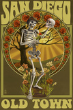 Old Town - San Diego, California - Day of the Dead Sugar Skull Posters by  Lantern Press
