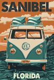 Sanibel, Florida - VW Van Print by  Lantern Press