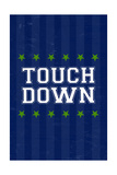 Monogram - Game Day - Blue and Green - Touchdown Prints by  Lantern Press
