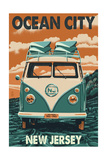 Ocean City, New Jersey - VW Van Prints by  Lantern Press