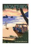 Monterey, California - Woody on Beach Print by  Lantern Press