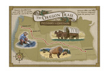 Oregon Trail Map Prints by  Lantern Press